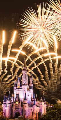A fireworks display over Cinderella Castle at Magic Kingdom park in Florida