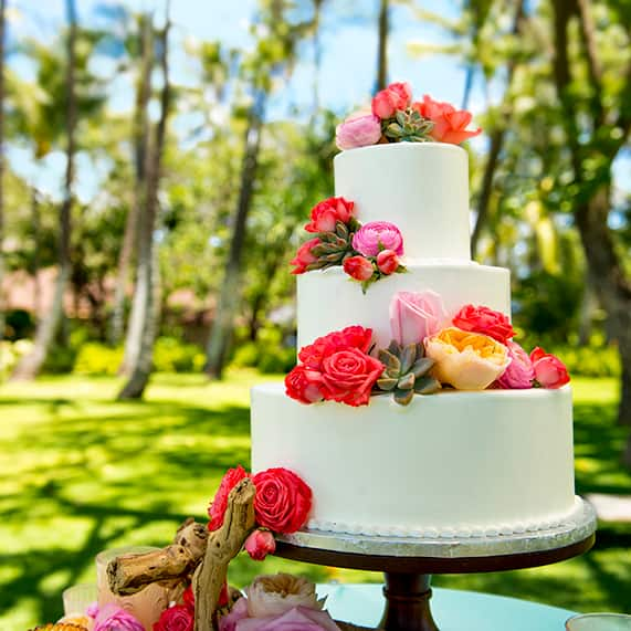 Wedding Cake Wednesday: Hawaiian Roses & Succulents